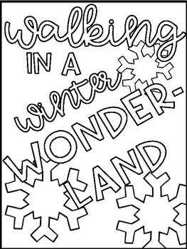 Winter Song Lyric Coloring Sheets and Color by Number