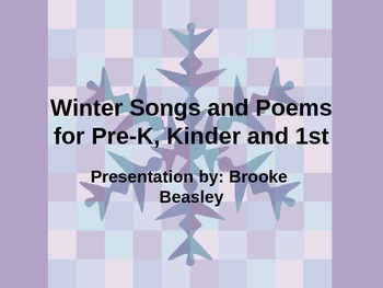 Winter Songs and Poems for Pre-K, Kinder and 1st