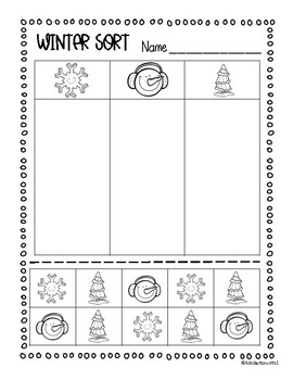 winter sorting cut and paste by kindercounts1 teachers pay teachers. Black Bedroom Furniture Sets. Home Design Ideas