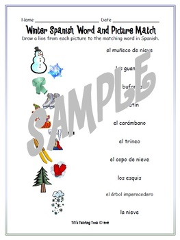 Winter Spanish Word and Picture Match