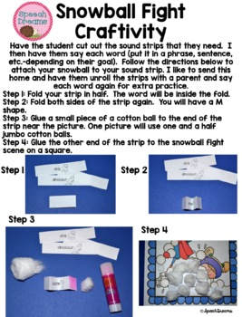 Winter Speech Therapy Craft for Articulation Language Fluency or Fun