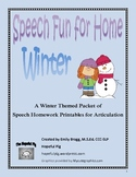 Winter Speech Fun for Home: Printable Speech Homework - Ar
