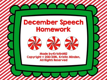 Winter Speech Homework Bundle