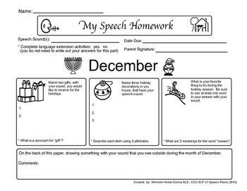 Winter Speech Homework Sheets with language extension activities - Freebie