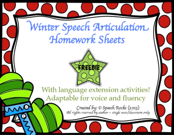 Winter Speech Homework Sheets with language extension acti