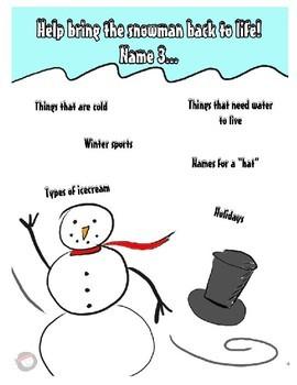 Winter Speech/Language Worksheets - NO PREP