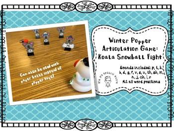 Winter Speech Snowball Fight: Articulation Activity: All Sounds: Popper Game