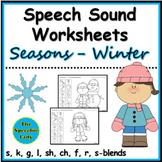 Winter Speech Sound Worksheets