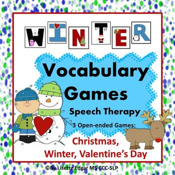 Winter Speech Therapy Vocabulary Games: Christmas, Winter