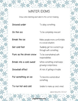 Winter Speech/Language Worksheets
