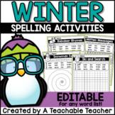Winter Spelling Activities - EDITABLE
