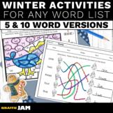 Winter Spelling Activities for Any Word List | Editable Spelling Homework