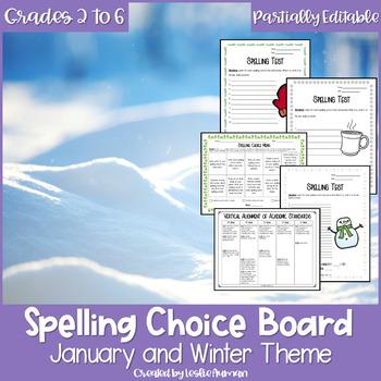 Winter Spelling Menu | Winter Activities | January Activities |Spelling Practice