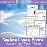 EDITABLE Winter Spelling Choice Board
