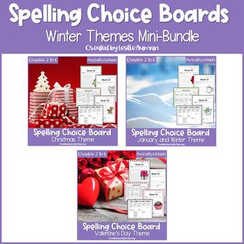 EDITABLE Winter Spelling Choice Menus BUNDLE