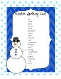 Winter Spelling List