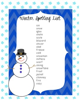 Winter Spelling List