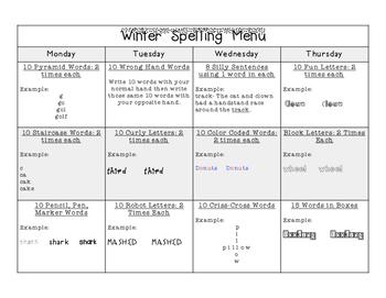 Winter Spelling Menu