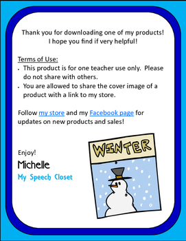 Winter Spelling Speech Therapy Game