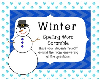 Winter Spelling Word Scramble