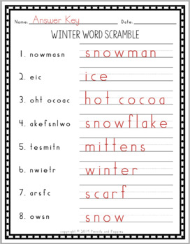 Winter Spelling and Handwriting Word Scramble Puzzle - Handwriting Practice