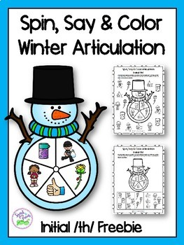 Winter Spin, Say & Color Articulation Freebie (Initial th sound)