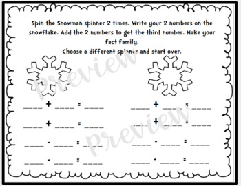 "Winter ""Spin a Fact Family"" Freebie!"