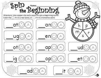 Winter Spin-a-Sound Beginning, Middle and Ending Sounds Real Vs. Nonsense