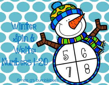 Winter Spin and Write: Numbers 1-20