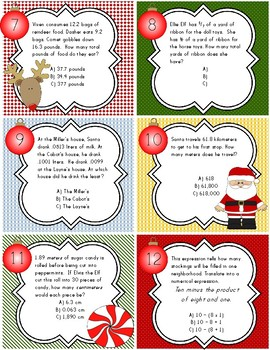 Winter Spiraled Math Task Cards w/ Teacher Guide Checklist