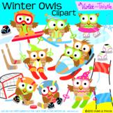 Winter Sports Games Owls Clipart Skiing Hockey Ice Skating