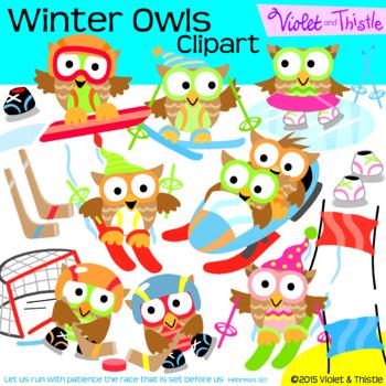 Winter Sports Owls Clipart Skiing Hockey Ice Skating Snowb