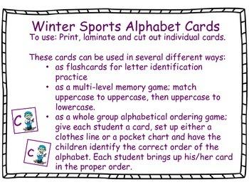 Olympic Winter Sport Alphabet Cards