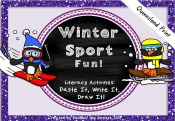 Winter Sport Fun Literacy Activities_Paste Write Draw_Queensland Print