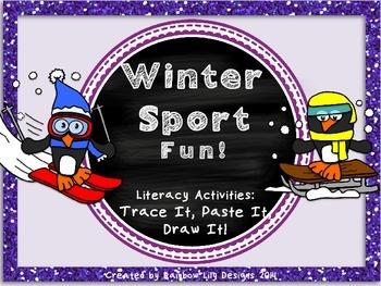Winter Sport Fun Literacy Activities_Trace Paste Draw