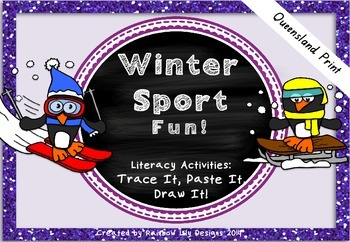 Winter Sport Fun Literacy Activities_Trace Paste Draw_Quee