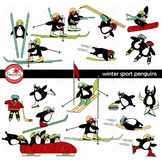 Winter Sport Penguins Clipart by Poppydreamz