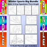 Winter Sports - 10 Math-Then-Graph Activities Bundle - Solve 2-Step Equations