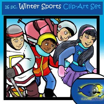 Winter Sports (16 pc. Clip-Art BW & Color!)