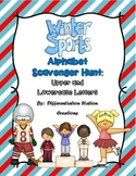 Winter Sports Alphabet Scavenger Hunt: Upper and Lowercase Letters