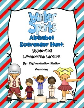 Winter Sports Alphabet Scavenger Hunt: Upper and Lowercase