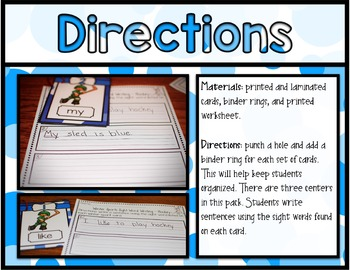 Winter Sports Center ~ Sight Word Writing