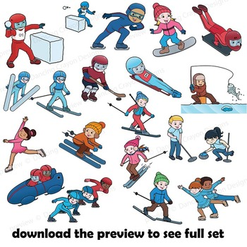 winter sports clip art kids by dancing crayon designs tpt