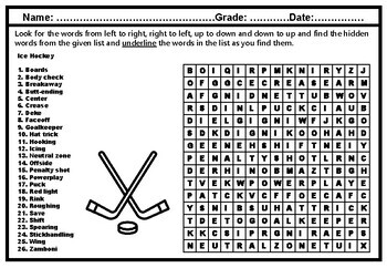 Winter Sports Collaborative Art & Ice Hockey Word Search, Early Finishers Bundle