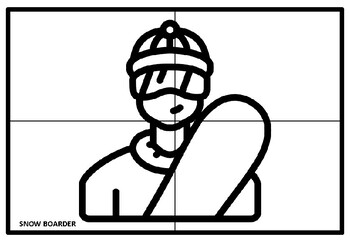 Winter Sports Collaborative Art Project, Coloring Pages, Elementary Art Sub Plan