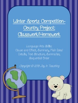 Winter Sports Competition- Country Research Project-classwork/homework