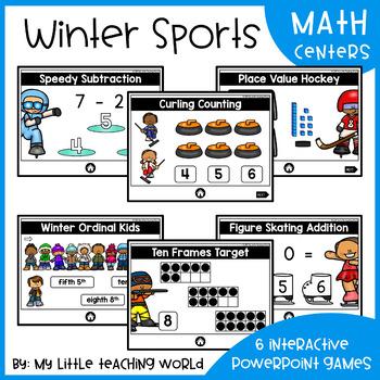 Winter Sports Digital Math Centers (Interactive Powerpoint Games)