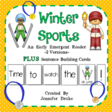 Winter Sports Early Emergent Reader PLUS Picture & Word Cards; Color & B&W