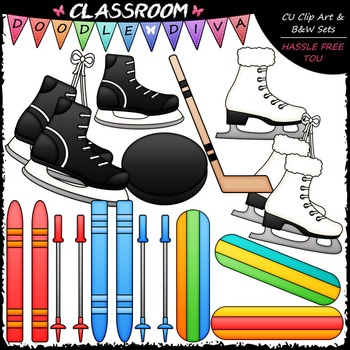 Winter Sports Equipment - Clip Art & B&W Set