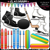 Winter Sports Equipment - Clip Art & B&W Set